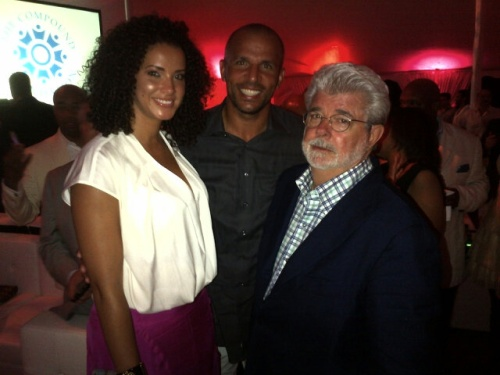 Jason Kidd, Wife Porschla Coleman And  George Lucas