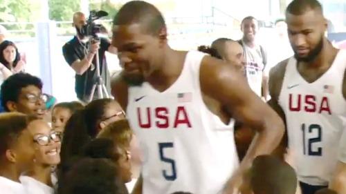 Kevin Durant & Team USA Surprise Kids