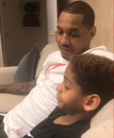 Father-Son Moment: Carmelo Anthony Talks Basketball With His Son Kyian (Video)