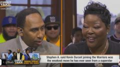 "Kevin Durant's Mother Wanda To Stephen A Smith: 'If I had A Mic, I'd Drop It! "" (Video)"