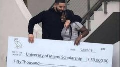 Rapper Drake Gifts Fan $50,000 Dollar College Scholarship And $25K To Miami Senior High School! (Video)